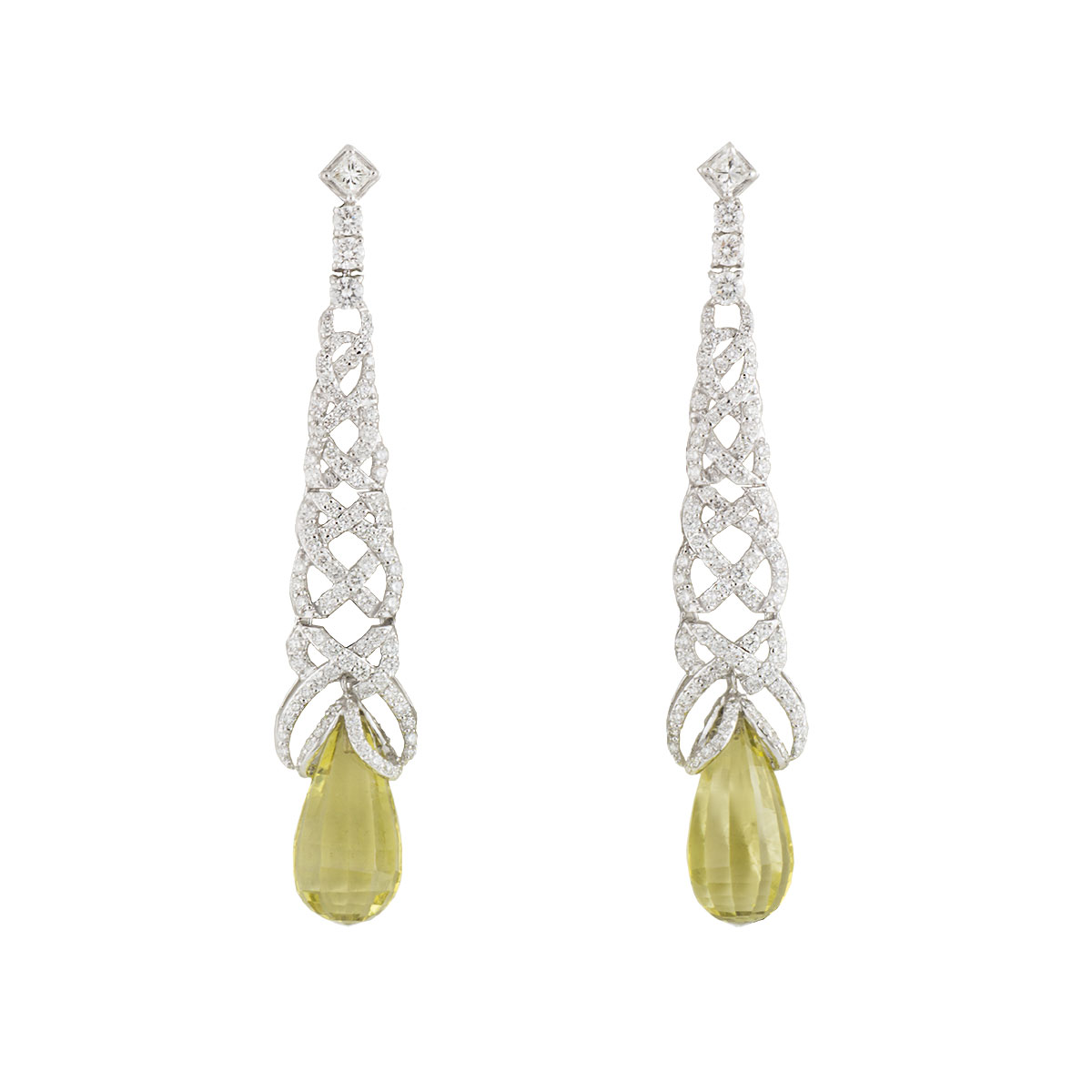 White Gold Diamond and Lemon Quartz Earrings